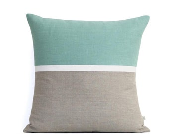 Spring Horizon Line Pillow Cover in Aqua, Cream & Natural Linen Stripes by JillianReneDecor, Modern Home Decor, Colorblock Stripes
