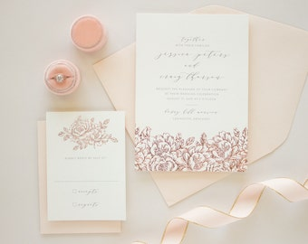 Rose Gold Foil Stamped Wedding Invitations, Rose Gold Flowers in Foil Stamping, Pink and Gray Weddings | DEPOSIT | Enchanted