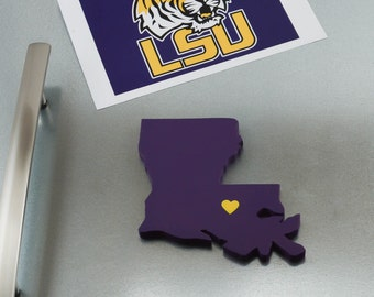 """LSU Tigers """"State Heart"""" Magnet, handcrafted wood with official team colors"""