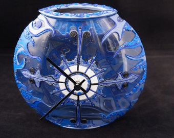 Blue clock with bowl decorated with polymer clay. Blue clock with bowl decorated with polymerclay