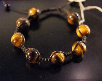 Cool Dark brown and Yellow Tiger's eye bracelet/ball bracelet/Stone bracelet/Handmade jewelry/for him or her/summer gift idea/autumn trends