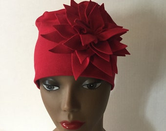 Womens Summer Hat Red Flower Gift