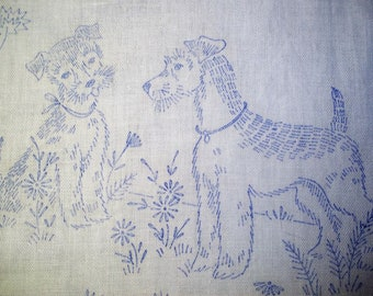 Stamped Dresser Scarf or Table Runner to be Embroidered - Two Dogs- Scottish Terriers