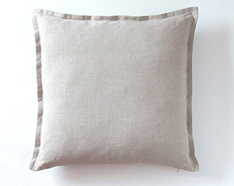 Natural Linen Pillow Cover - Unbleached Cozy Tan/Gray Linen Pillowcase by LINENSPACE - Kissen, Kissenbezug   0013