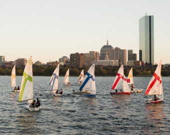 Sailing Print, Charles River, Boston Skyline, Boston Prints, Evening Sunlight, Colorful Sails, Sailing Photographs, Prudential Building