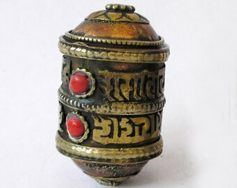 Tibetan Prayer Wheel Bead Mixed Metals Coral Gemstones 'Om Mani Padme Hum'