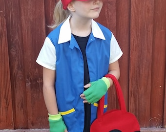 3 pc mens large pokemon trainer red cosplay costume ash ketchum original pokemon trainer costume with shirt only solutioingenieria Image collections