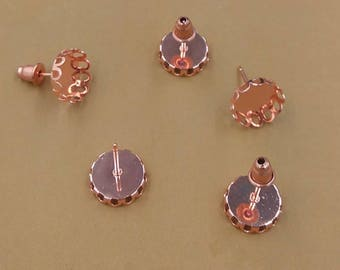 50 pairs (100 pcs) rose gold earring Studs 10mm-12mm Round Lace edge Cabochon Bezel Setting Nickel Free