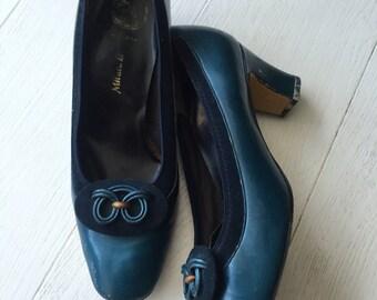 Petrol blue metallic 70's shoes