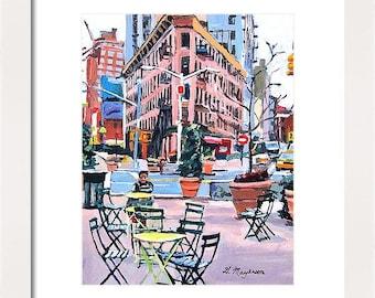 Meatpacking District Plaza, Chelsea Market New York Art NYC Art,  Little Flatiron Art Print Cityscape pink New York Painting Gwen Meyerson