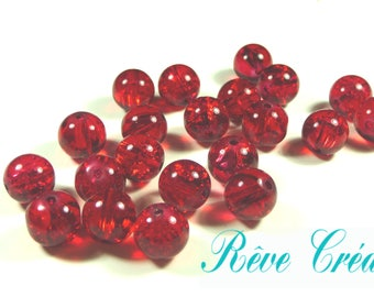 Round beads 10mm, trou1mm, Crackle glass beads red, 30 pieces