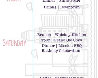 Birthday Itinerary