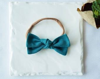 Knotted Linen Bow -Teal Green- Headband Nylon Skinny Headband or Hair Clip