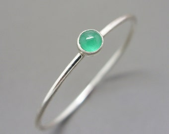 3mm Tiny Emerald Stacking Ring in Sterling Silver - Super Thin Micro Band, Smooth or Hammered - May Birthstone Stacking Ring