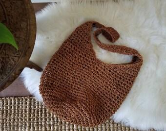 Woven Hemp Purse // Bohemian Handbag // Earthy Purse // Vintage Jute Bag