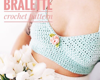 Crochet PATTERN- The Rose Bralette pattern, (XS-S-M/L sizes) crop top pattern- easy pattern, beginner crochet pattern- PDF, crochet pattern