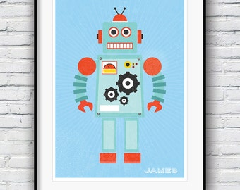 Robot Print, Personalised Poster, Retro Poster, Nursery Wall Art, Personalised Gift, Boys Room Decor, Nursery Wall Art, Kids Wall Art, Robot