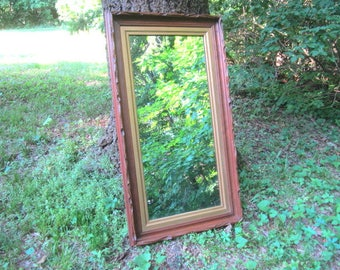 Antique Circa 1890 Carved Walnut Full Length Wall Hanging Mirror