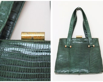Reserved // 1940s Handbag // Reptile Look Dark Green Leather Handbag // vintage 40s Bass handbag