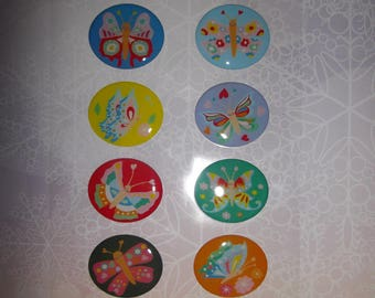 set of 12 plastic butterflies stickers