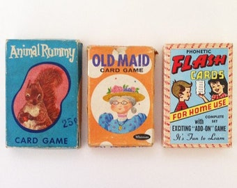 Vintage Card Games, Old Maid, Animal Rummy, Phonetic Flash Cards, Whitman, Fairchild, Warren, Children's Games