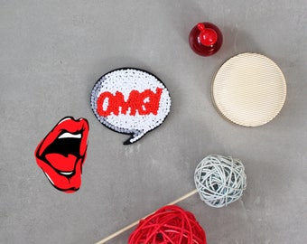 OMG pin brooch - Pin Up Look - Embroidered Brooch - Textile brooch - Text Acronym pin brooch