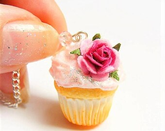 Food Jewelry, Pink Rose Cupcake Miniature Food Necklace, Miniature Food Jewelry, Mini Food Jewelry, Food Pendant, Handmade, Cupcake Necklace