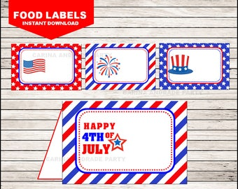 4th of July Food Labels instant download, Patriotic Party Tent cards , Military party Food tent cards