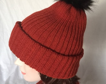 Rust Red Double Layered Hat with Pom Pom - Icelandic Production