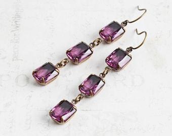 Purple Rhinestone Earrings, 'Amethyst' Purple Earrings on Antiqued Brass Hooks, Long Dangle Earrings, Vintage Glass, Retro Style Jewelry