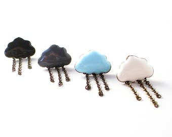 SALE - Raincloud Earrings in Bronze and Enamel - Mix and Match Rain Stud Earrings