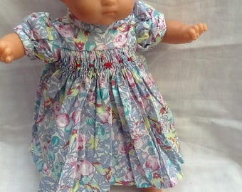 Doll clothes dress has smocked flowers, blue birds, 36 cm