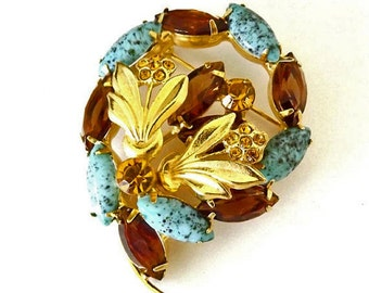 Vintage Brooch, Blue Brooch with Art Glass, Amber Topaz Brooch, 1950s Jewelry, Costume Jewelry, Dressy Jewelry, Womens Accessories