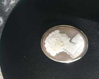 Vintage Sterling Silver Cameo Pin/Pendant - AB