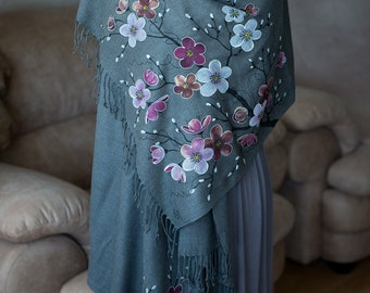 evening shawl women's Cover Ups Dress gifts for mom flowers scarf hand painted cashmere scarf painted silk batik ,free shipping ,