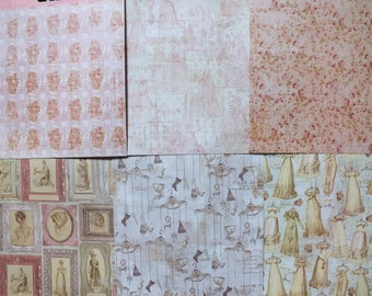 Set of 6 sheets for scrapbooking theme VINTAGE JANE AUSTEN size 15 x 15 cm double sided