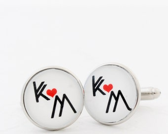 Initial Cufflinks, Custom Cufflinks, Personalized Boyfriend Gift, Heart Cufflink, Anniversary Gift for Husband, Long Distance Boyfriend Gift
