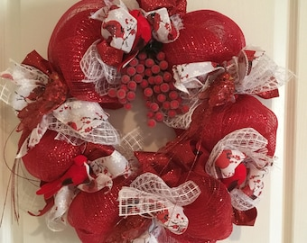 Winter cardinals deco mesh wreath