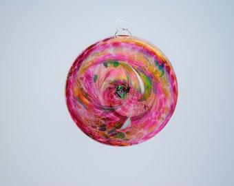 e00-65 Flat Iridescent Disc Ornament Ruby.