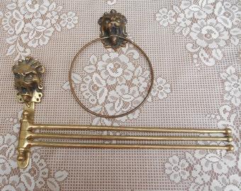Set of 2 Vintage French Brass Serviette/Tea Towel Holders - Reclaimed.
