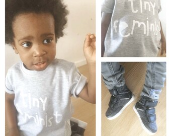Tiny Feminist, Organic Cotton T-shirt - baby t-shirt - kids t-shirt - girls t-shirt - boys t-shirt - printed t-shirt - feminism print