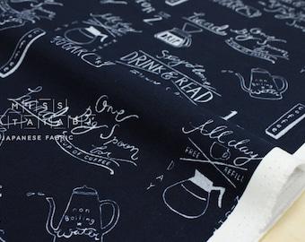 Japanese Fabric Kokka Chalk Board Cafe Drinks - navy blue - 50cm