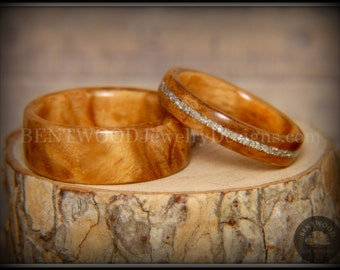 "Bentwood Rings - ""Classic Couple"" Bethlehem Olivewood Wood Rings with Glass Inlay using my bentwood process for very durable wood ring."