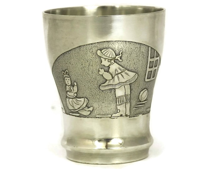 Art Deco Silver Baby Cup. French Silver Plated Goblet. Antique Baptism Gift.