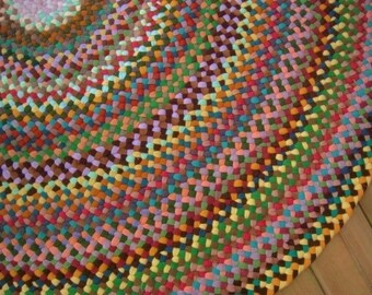 Made to Order Custom Area Round Rug/Carpet in Earthtones from recycled/upcycled cotton