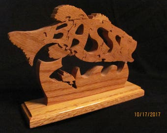 fish puzzle upright on stand in oak 9.5 x 7 x 2.5