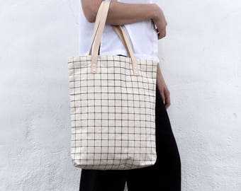 Cotton Canvas Tote Bag - Black Grid Design Natural Leather Straps