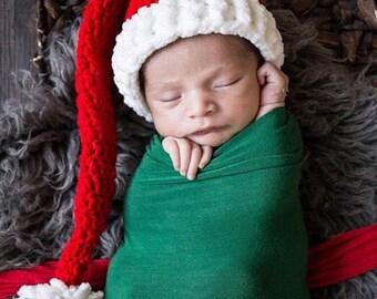 Baby Santa Hat - Santa Hat - Newborn Santa Hat - Baby Christmas Hat - Crochet Santa Hat - Infant Christmas Outfit - Santa Claus