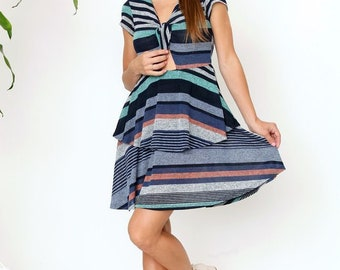 Dot Front Ruffle Mini Dress