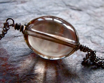 Long Smoky Quartz Sterling Silver Pendant Necklace